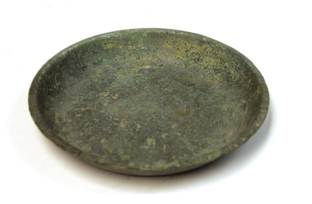 A Korean cast bronze shallow dish, possibly Silla