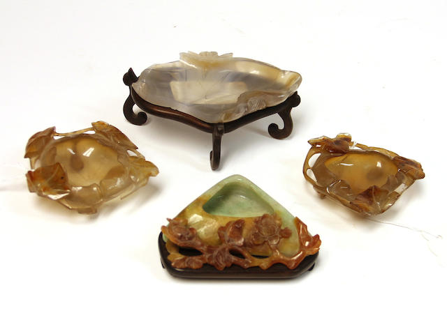 Four small hardstone water coupes