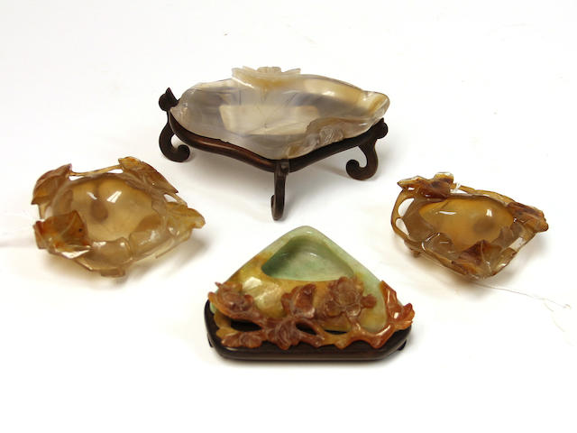Four small hardstone water coupes, two agate, one carnelian , one jadeite