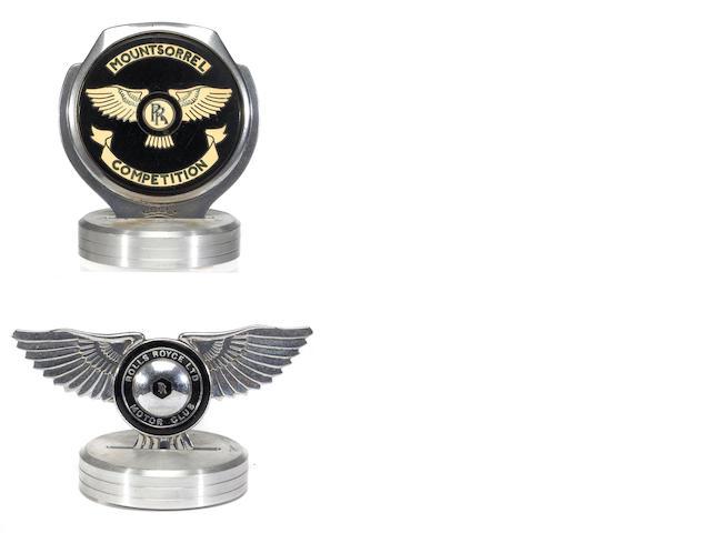 A pair of Rolls-Royce Motor Club badges,