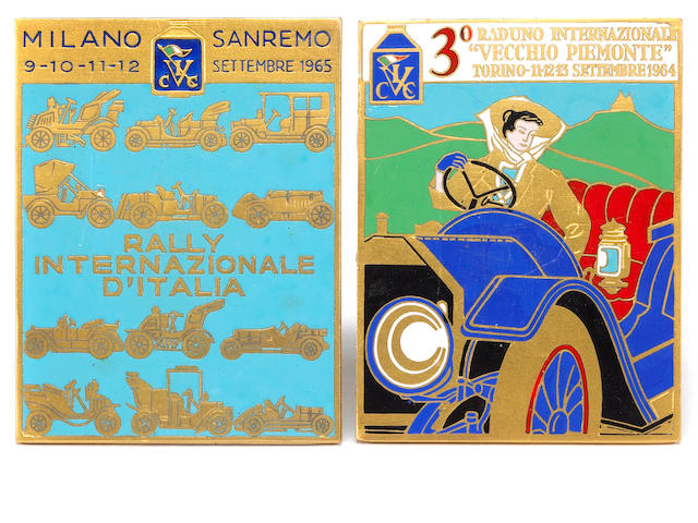 A lot of two Italian Vintage Car Club Badges, 1964, 1965,