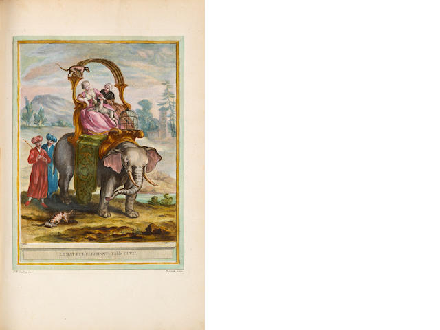 La Fontaine, Jean de. Fables choisies mises en vers. Paris: 1755-59. 4 vols. Folio. Period armorial crimson morocco. With 277 plates, handcolored.