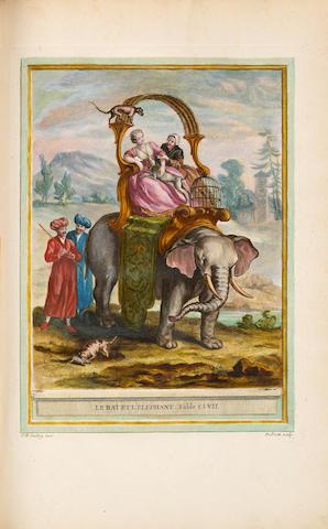 La Fontaine, Jean de. Fables choisies mises en vers. Paris: 1755-59. 4 vols. Folio. Period armorial crimson morocco. With 277 plates, handcolored.