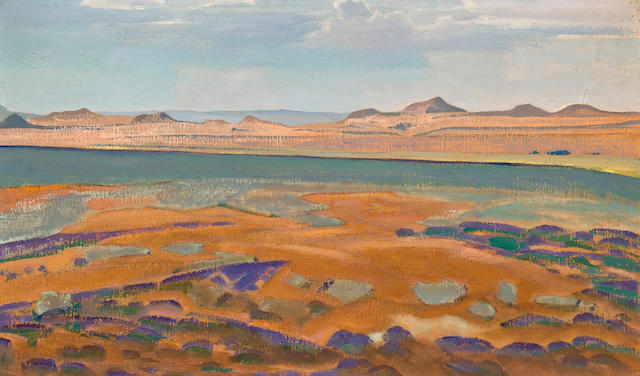 "Nikolai Roerich, ""Santa Fe, New Mexico,"" tempera on canvas"