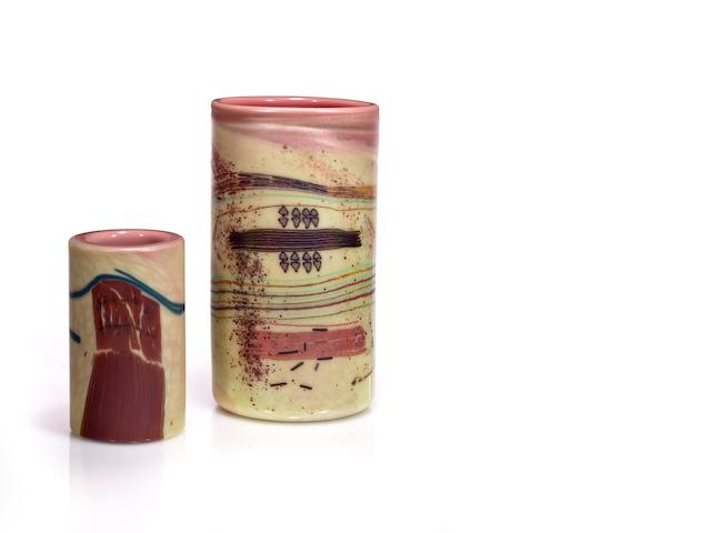 Two Dale Chihuly Navaho cylinders