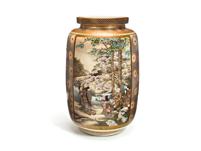 A massive Satsuma vase By Kanzan, late 19th century