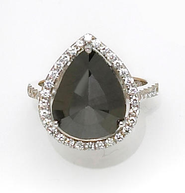 A black diamond and diamond ring