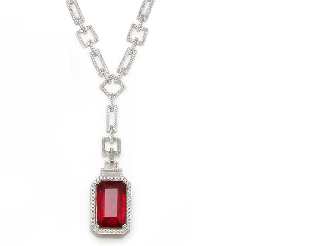 A rubellite tourmaline and diamond pendant-necklace