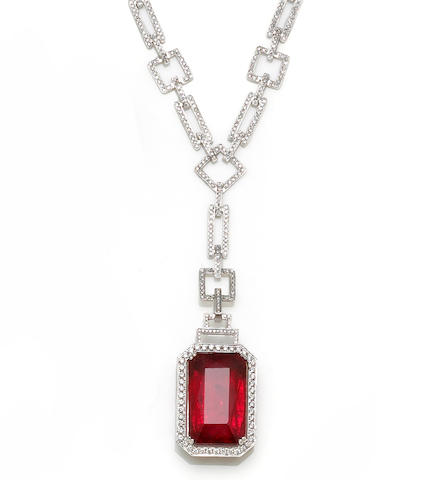 A rubellite tourmaline and diamond pendant-necklace