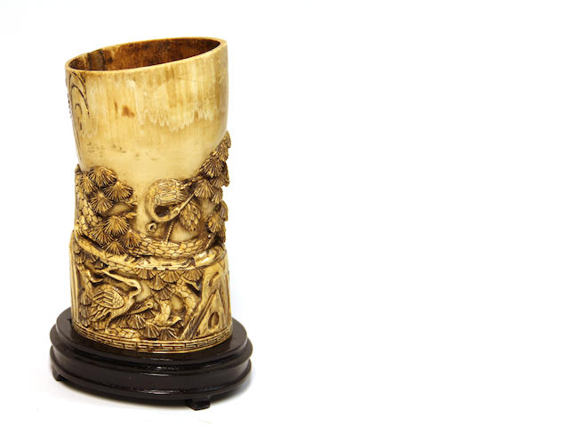 A Chinese carved and stained ivory brushpot, carved with cranes and pine, (fair quality), mid 20th century