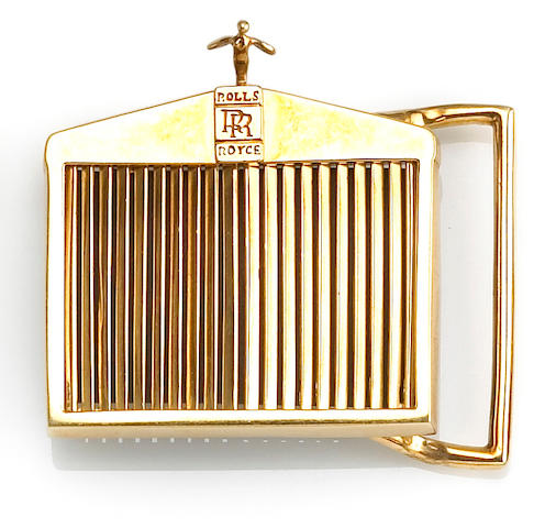 An eighteen karat gold Rolls Royce belt buckle