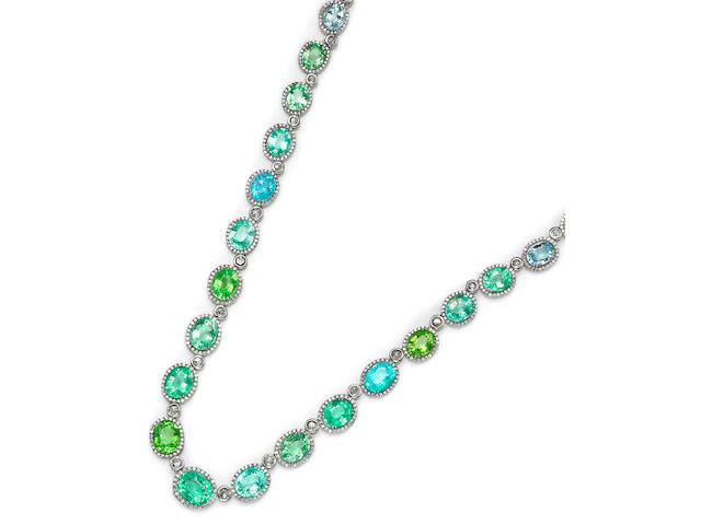 A blue and green tourmaline and diamond necklace