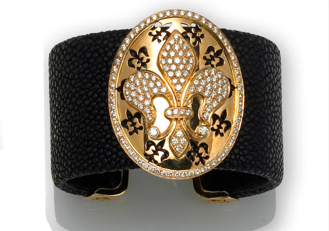 A diamond and black shagreen leather cuff bracelet