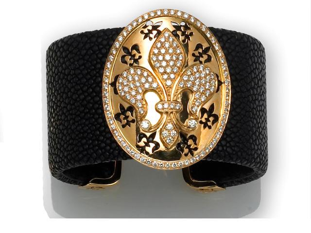 A diamond and black shagreen leather cuff bracelet