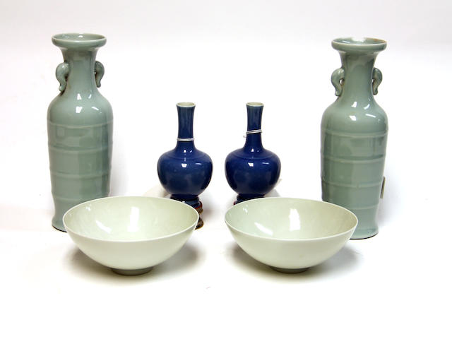 An assembled group of monochrome glazed porcelains