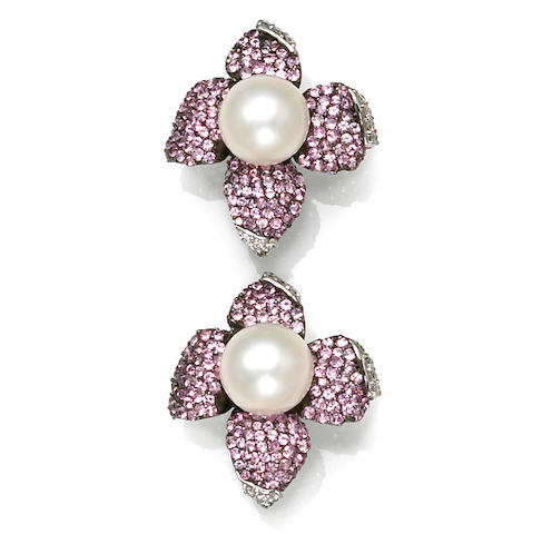A pair of cultured pearl, pink sapphire and diamond flower earrings