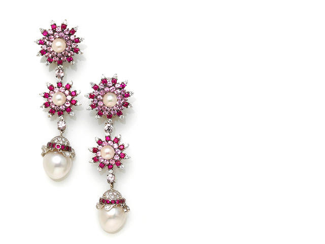 A pair of pink sapphire, diamond and cultured pearl earrings