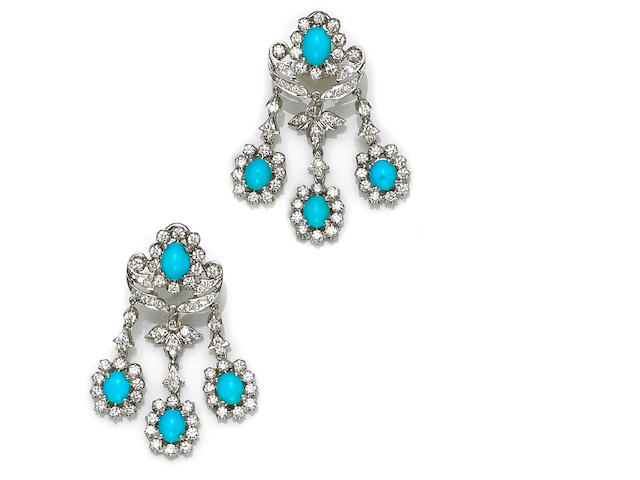 A pair of turquoise and diamond chandelier earrings