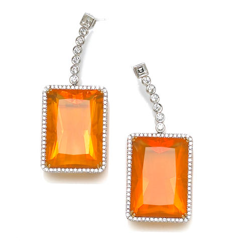 A pair of fire opal and diamond pendant earrings