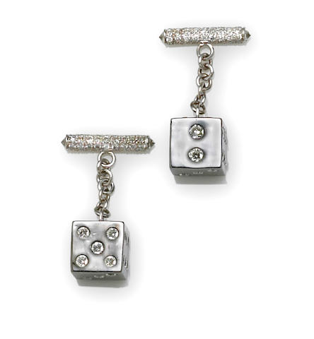 A pair of diamond dice cufflinks