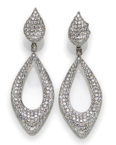 A pair of diamond pendant earrings, Eli Frei