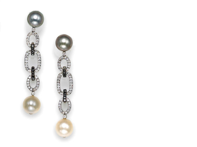 A pair of colored and white cultured pearl, black diamond and diamond earrings, Eli Frei