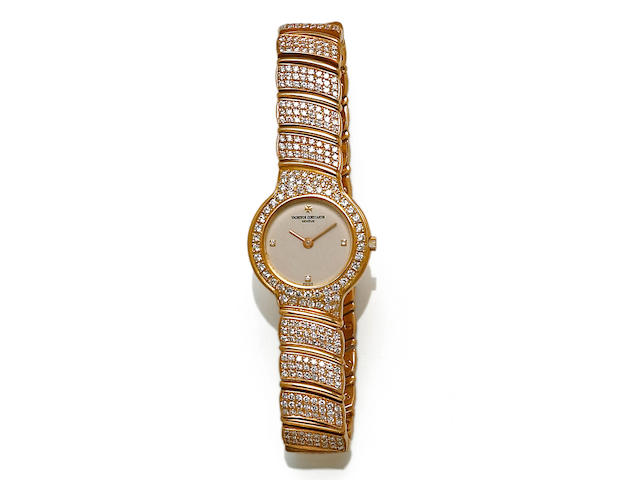 Vacheron and Constantin. A diamond and 18k gold bracelet wristwatch