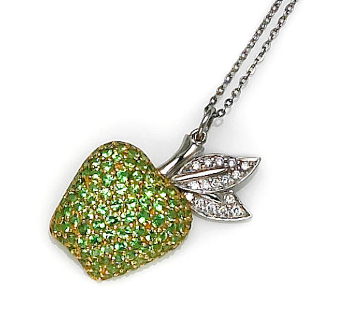 A tsavorite garnet and diamond apple pendant