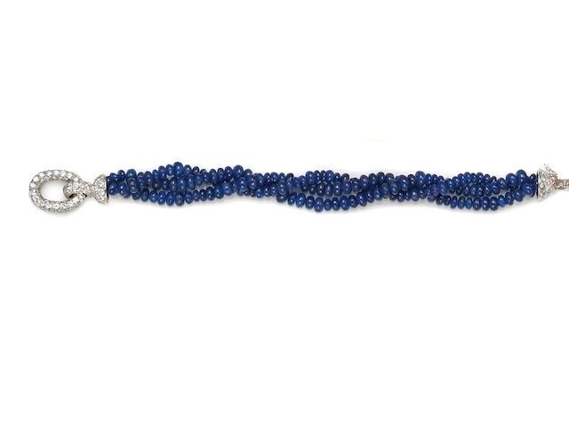 A sapphire bead and diamond three-strand bracelet, French