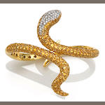 A yellow sapphire and diamond snake bangle bracelet