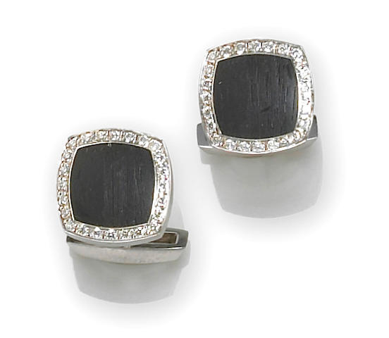 A pair of black wood and diamond cufflinks, Chaumet, French