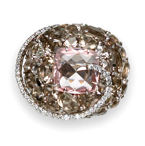 A rose quartz, smoky quartz and diamond bombé ring, Brumani