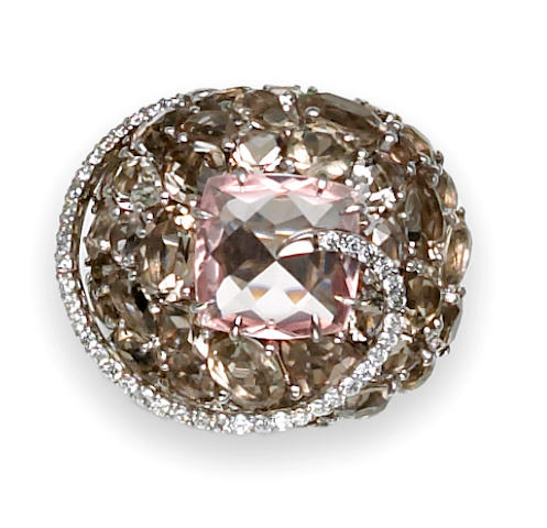 A rose quartz, smoky quartz and diamond bombé ring, Brumani