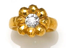 "A diamond and twenty-two karat gold ""Rosetta"" flower ring, Linda Lee Johnson, retailed by Barneys"