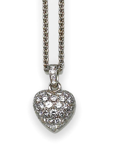 A diamond heart pendant with chain, Cartier, France