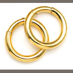 A pair of eighteen karat gold hoop earrings, Cartier
