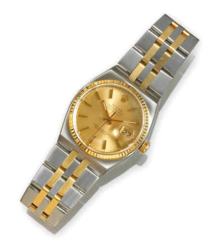 Rolex. A stainless steel and 18k gold bracelet wristwatch