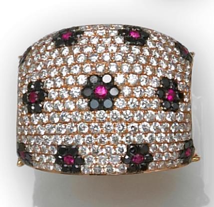 A ruby, black diamond, diamond and white jasper floral ring
