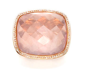 A rose quartz and diamond ring