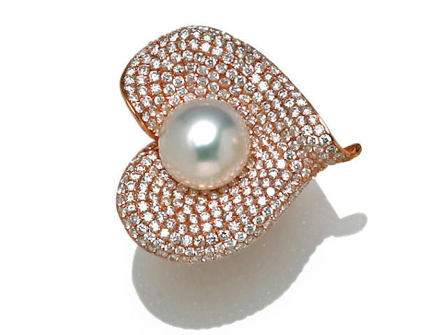 A South Sea cultured pearl and diamond calla lily ring