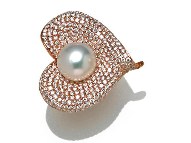 A South Sea cultured pearl and diamond calla lily ring