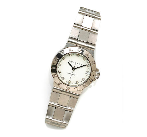Bulgari. A stainless steel and diamond automatic bracelet wristwatch
