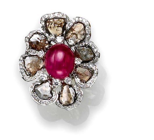 A ruby, colored diamond and diamond flower ring