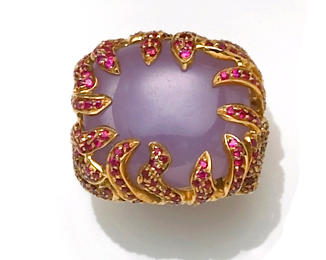 A lavender jadeite jade and ruby ring, Michael Kanners