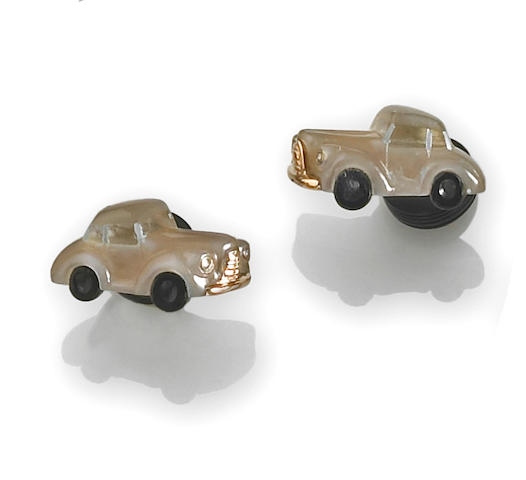 A pair of moonstone, rock crystal, onyx and diamond car cufflinks, Michael Kanners
