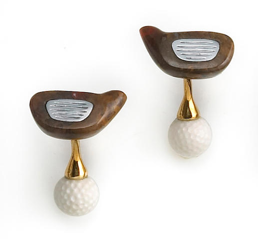 A pair of fossilized wood, hematite and cachalong opal golf cufflinks, Michael Kanners