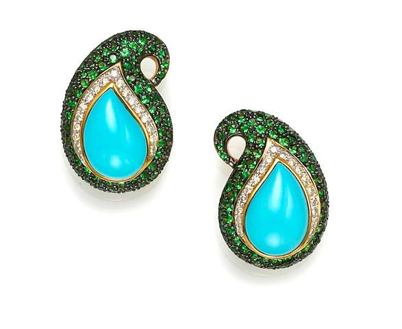 A pair of turquoise, diamond and tsavorite garnet paisley earrings