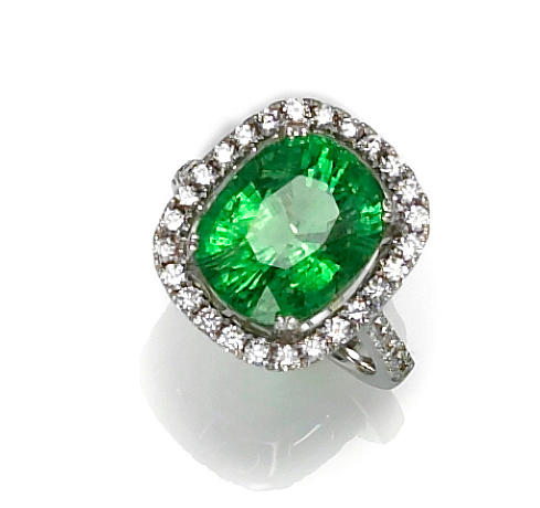 A green tourmaline and diamond ring
