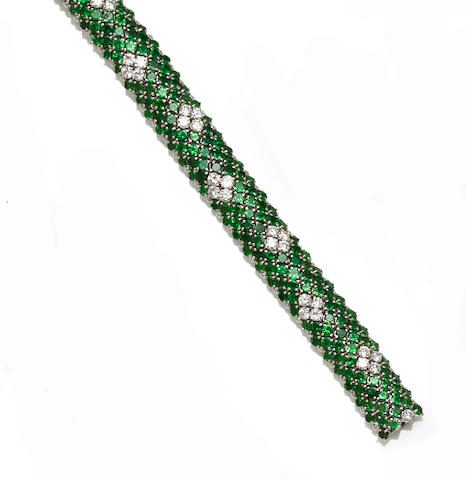 A tsavorite garnet and diamond bracelet
