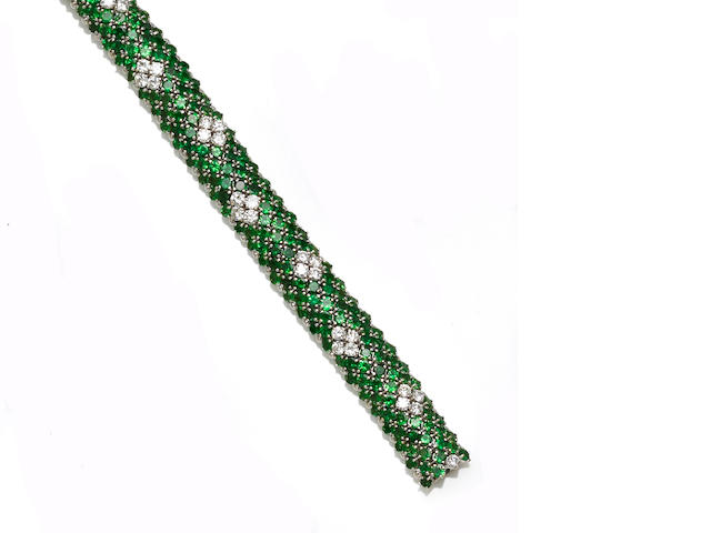 A tsavorite garnet and diamond bracelet